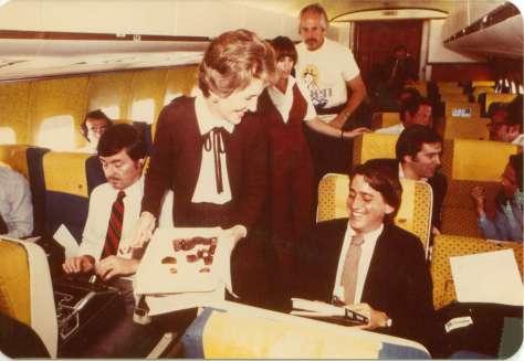 Nancy Reagan greets Isaacson on the 1980 Reagan campaign plane